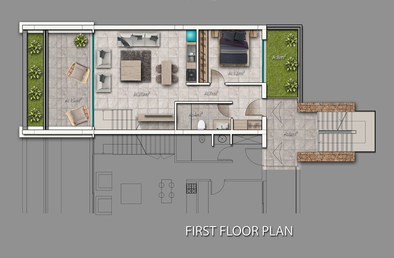 Block B1 & B2 - 3 sovrums duplex takvåning