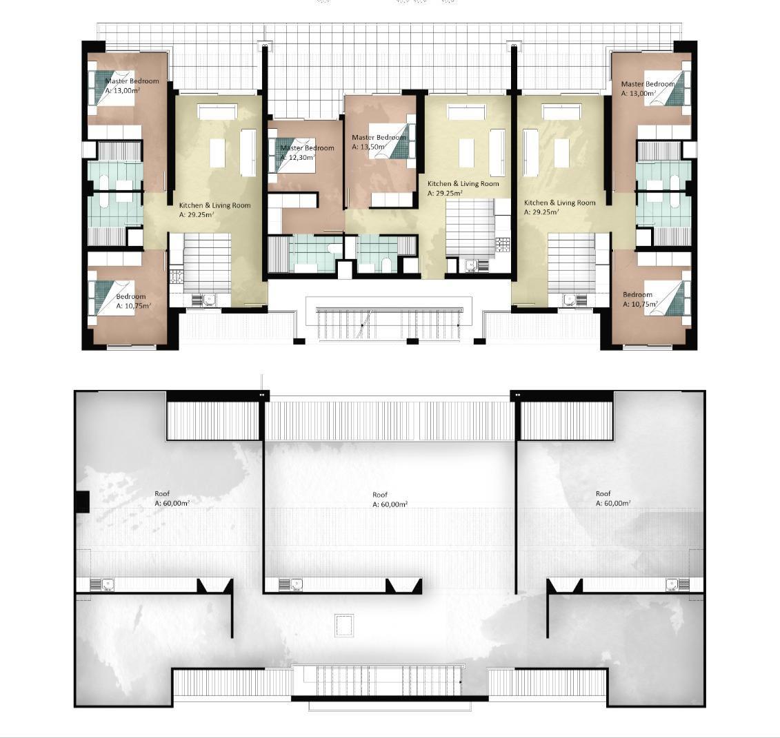 Block 8 & 9 - takvåning med 2 sovrum